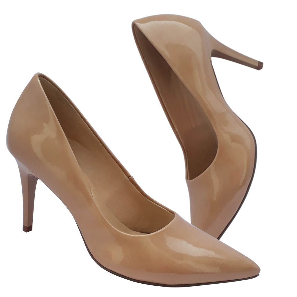 cdec5fa9d2 sapato scarpin nude bege verniz salto alto confortavel. Carregando zoom.