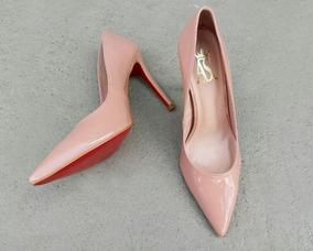 85dcef79d1 Scarpins Feminino Nude Com Sola Vermelha - Sapatos Rosa claro no ...