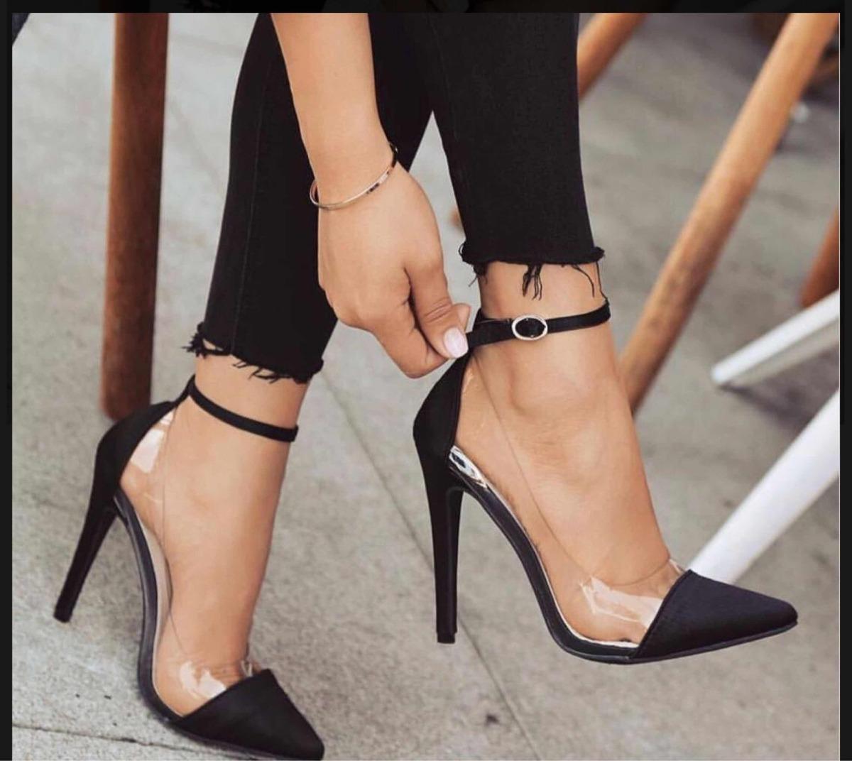 460db911a sapato scarpin preto com vinil transparente, salto 11 cm. Carregando zoom.