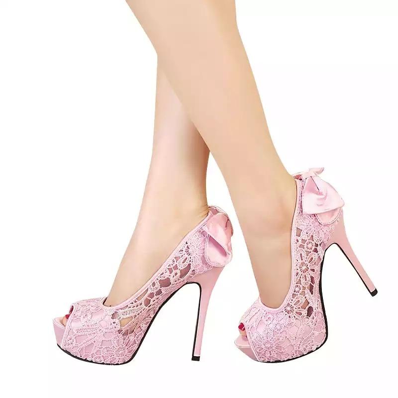 f8bda78b0b Sapato Scarpin Renda Salto Alto Fino 2 Model Importado 32-39 - R ...