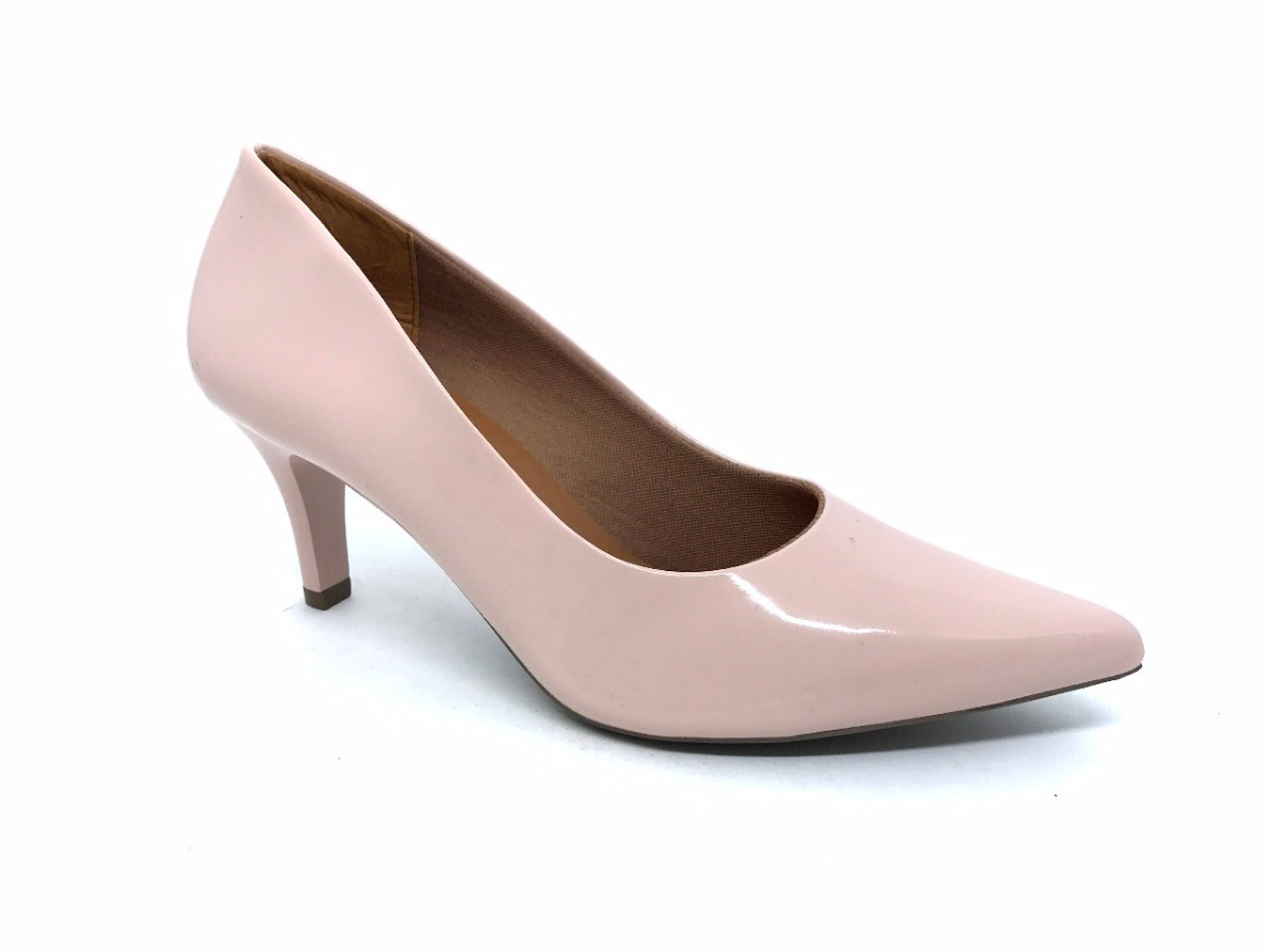 6d70c278ce Sapato Scarpin Rosa Bebe Verniz Salto Baixo Bico Fino Oz - R  172