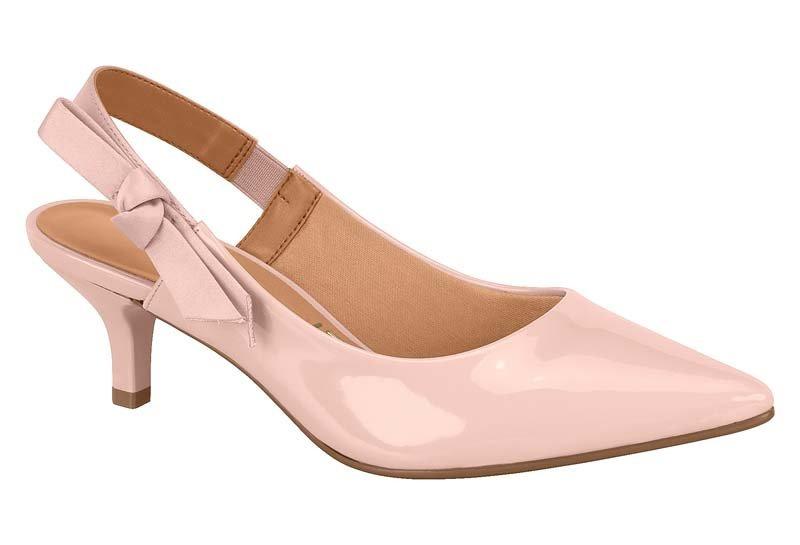 94413ac138 sapato scarpin rosé vizzano chanel salto baixo com laço. Carregando zoom.