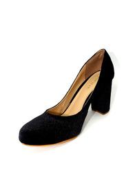 91873170ff Sapato Scarpin Salto 9 Quadrado Veludo Preto Forma Pequena