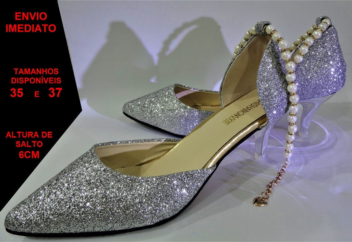 f0292a14b9 sapato scarpin salto alto bico fino elegante festas eventos. Carregando zoom .