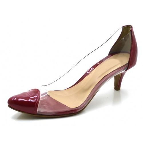48390c7a14 Sapato Scarpin Salto Baixo Verniz Transparente Moda Verão - R  116 ...