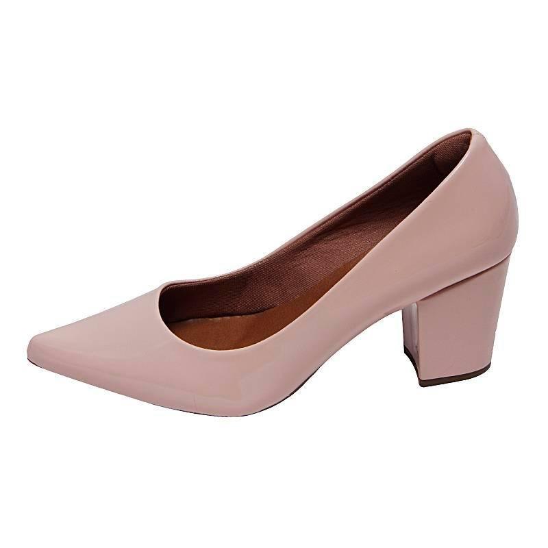 ebdc0c3e66 sapato scarpin salto grosso michelle ii verniz rosa claro. Carregando zoom.