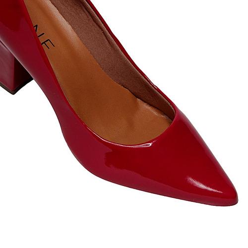 sapato scarpin salto grosso michelle ii verniz vermelho