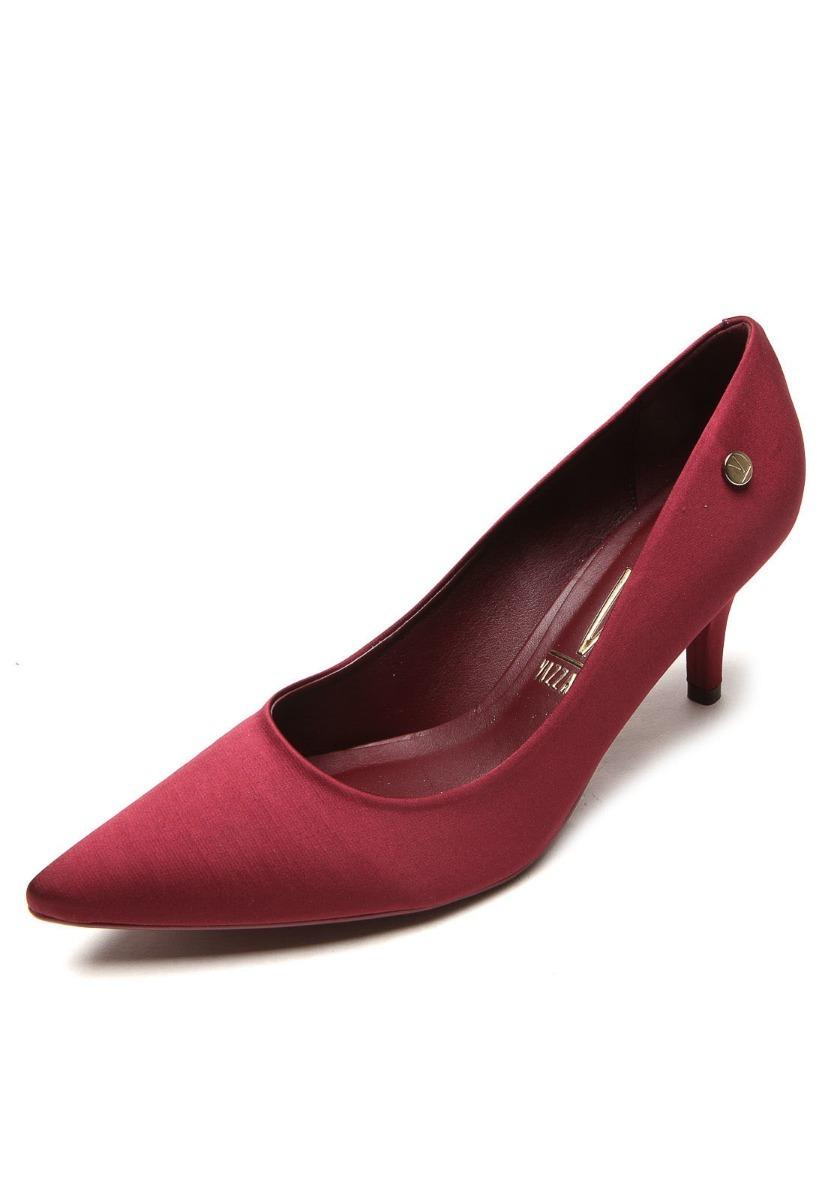 1a7ac66269 sapato scarpin salto médio bico fino cetim vizzano. Carregando zoom.