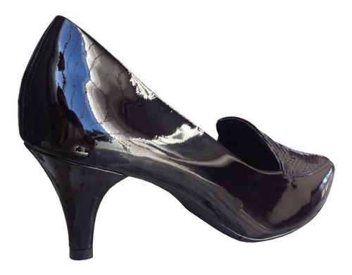 sapato scarpin usaflex j6461 couro verniz mocassim slipper