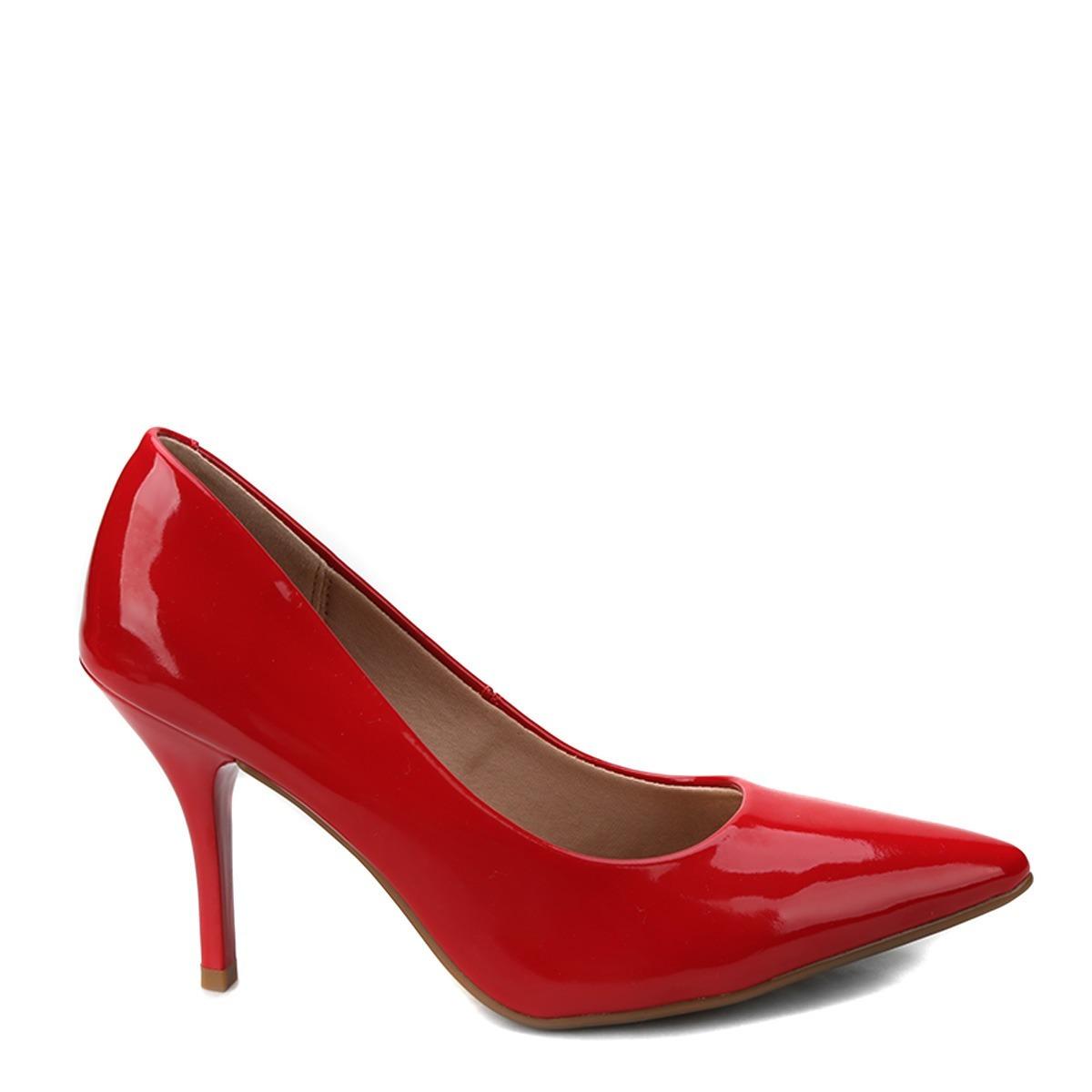 647ddad76f sapato scarpin vermelho salto alto verniz beira rio. Carregando zoom.