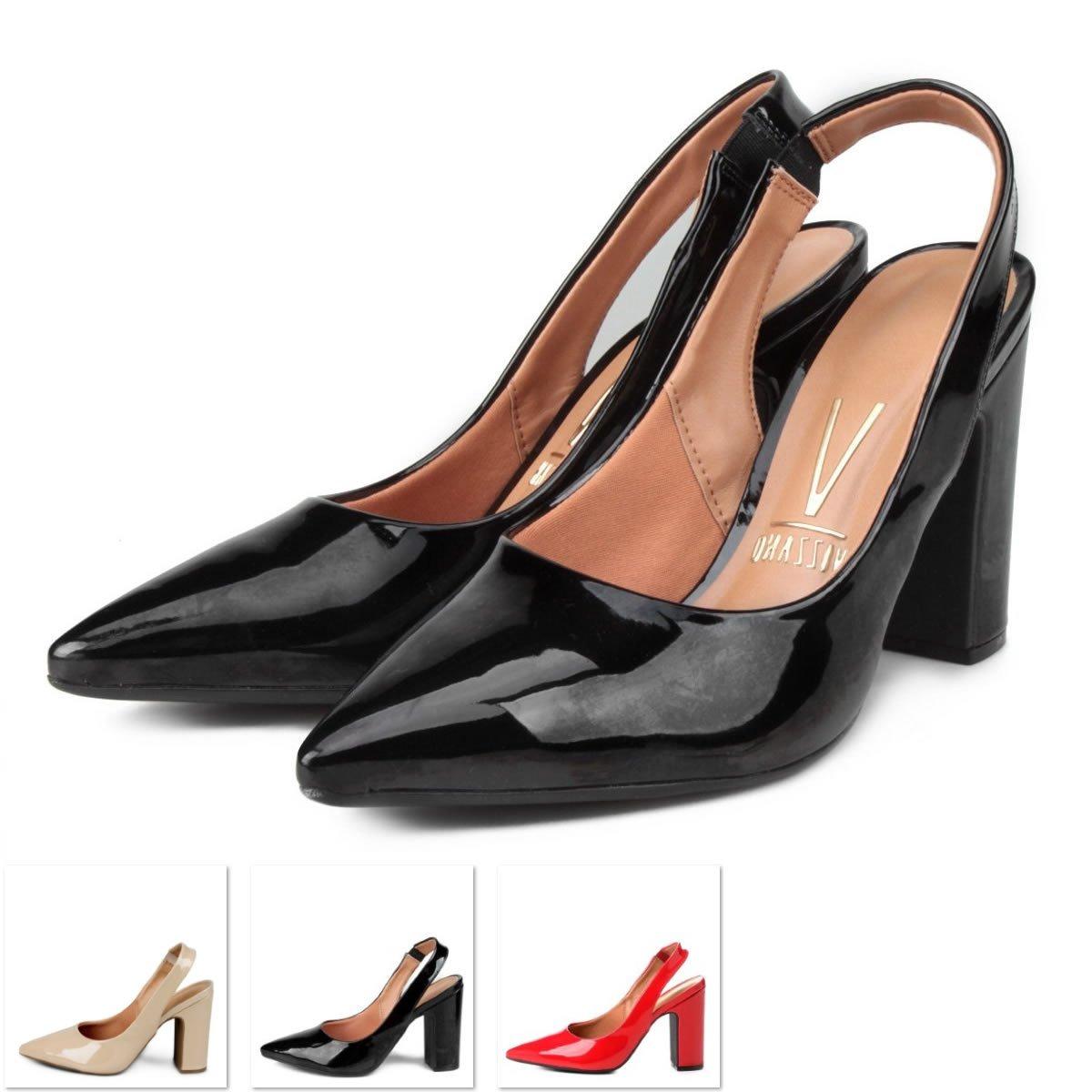 75c3fecafe sapato scarpin vizzano chanel bico fino salto bloco. Carregando zoom.