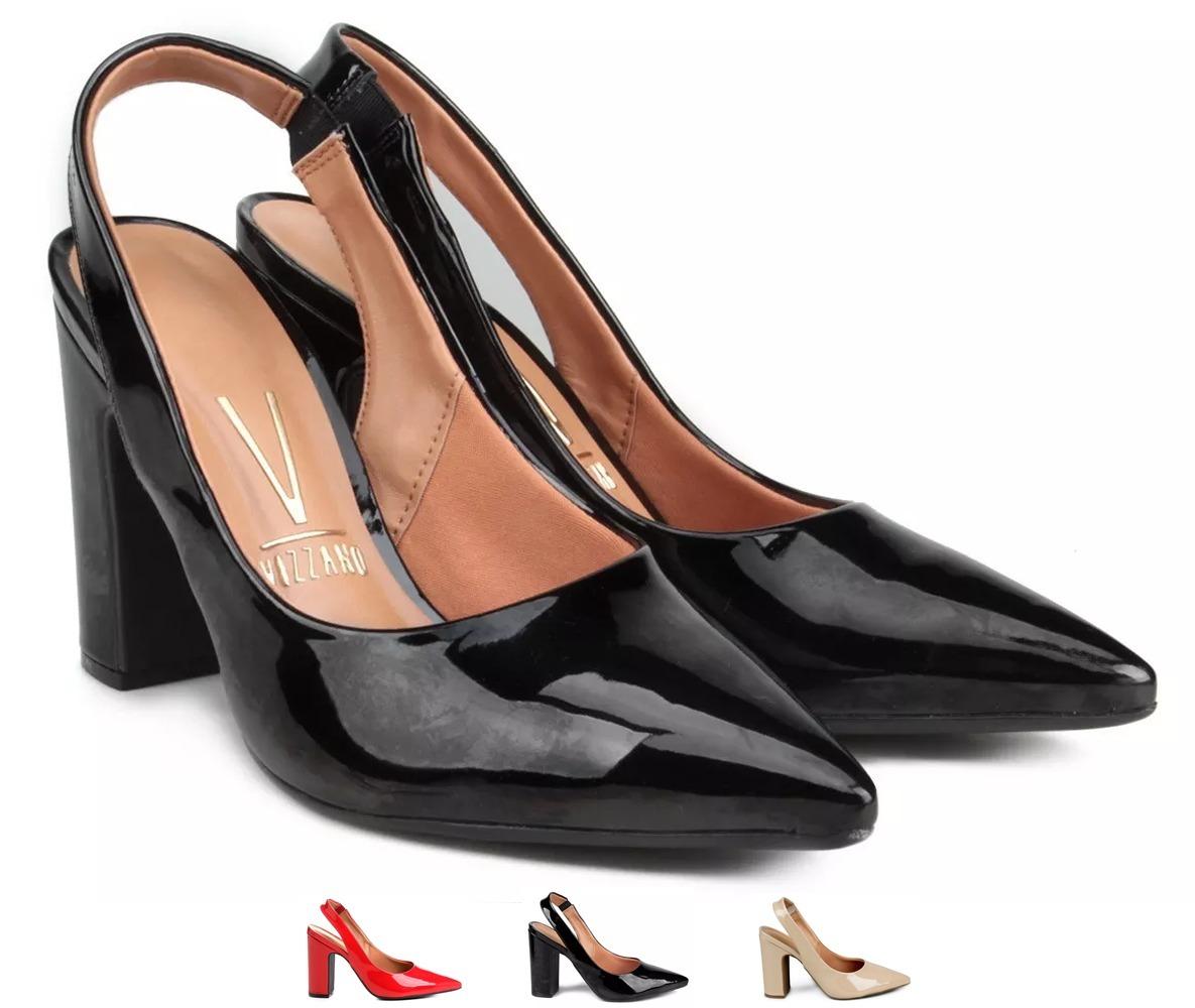 f1c82c15ea sapato scarpin vizzano chanel bico fino salto grosso. Carregando zoom.