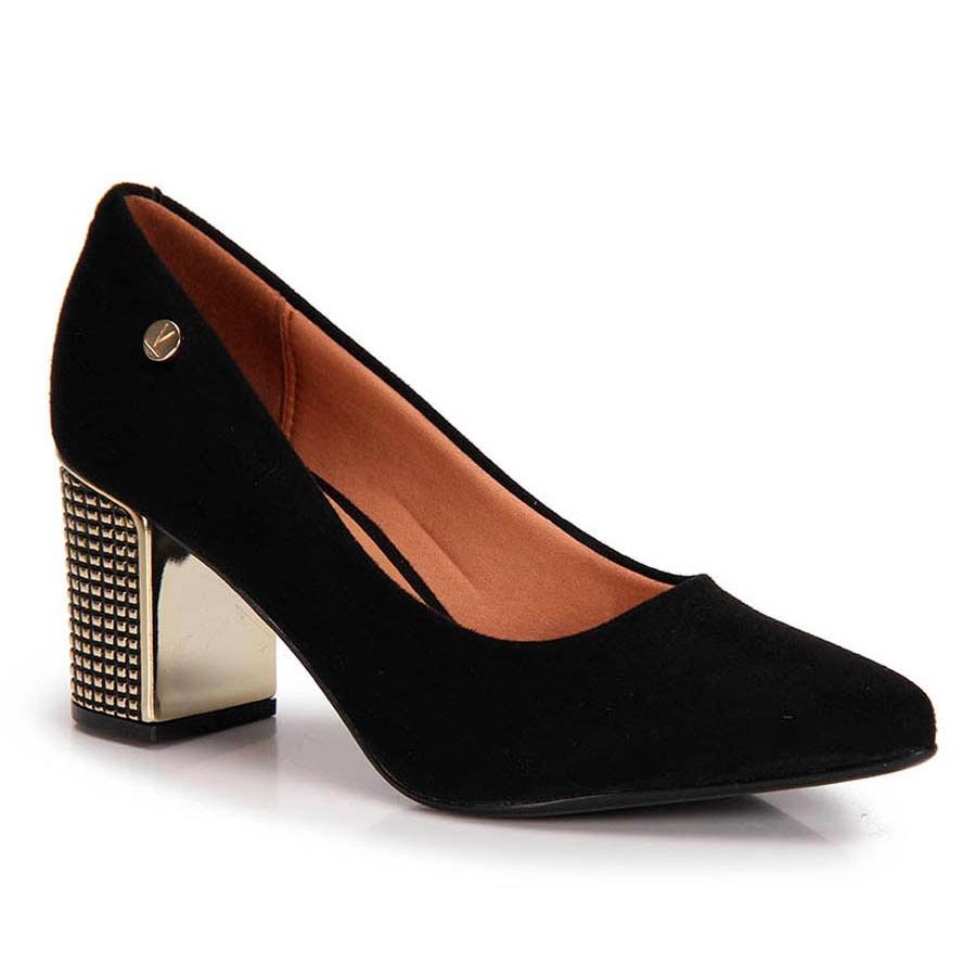 c846793b4 sapato scarpin vizzano salto grosso camurça preto. Carregando zoom.