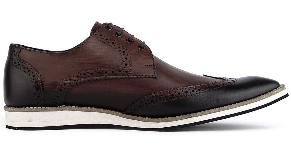 16bab547a9b44 sapato social casual masculino 100% couro oxford marrom. Carregando zoom.