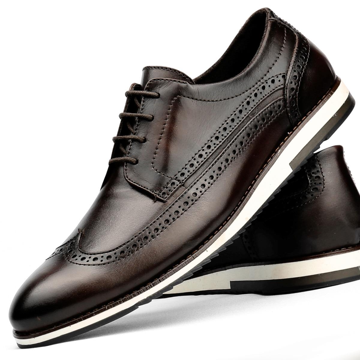 727d4c83100 sapato social casual masculino 100% couro oxford sapatenis. Carregando zoom.
