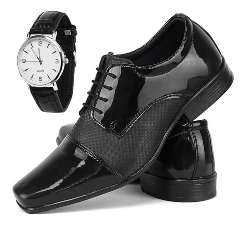 sapato social casual masculino com relógio caixa baixa