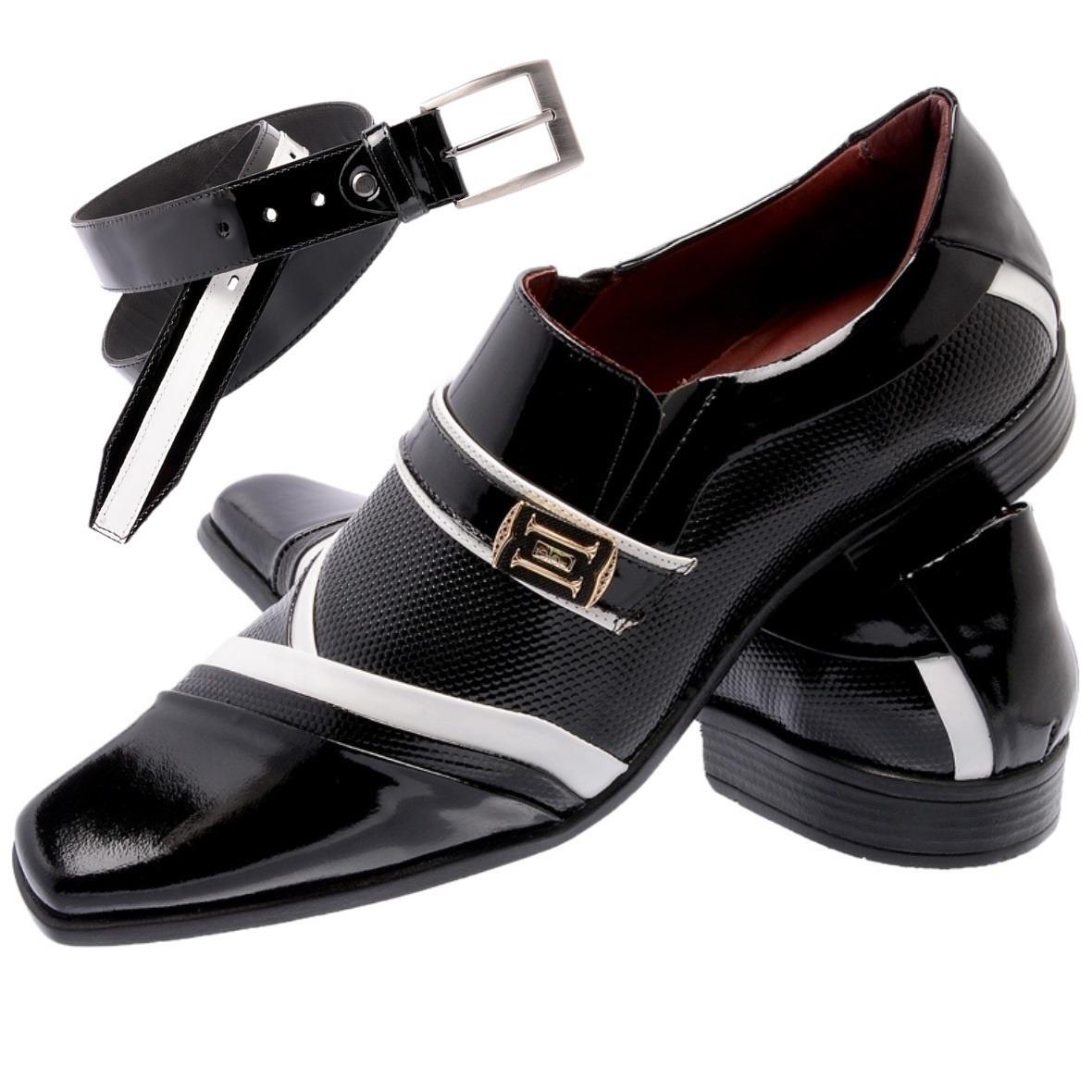 c61971d38c sapato social com cinto verniz branco e preto gofer 0751a. Carregando zoom.