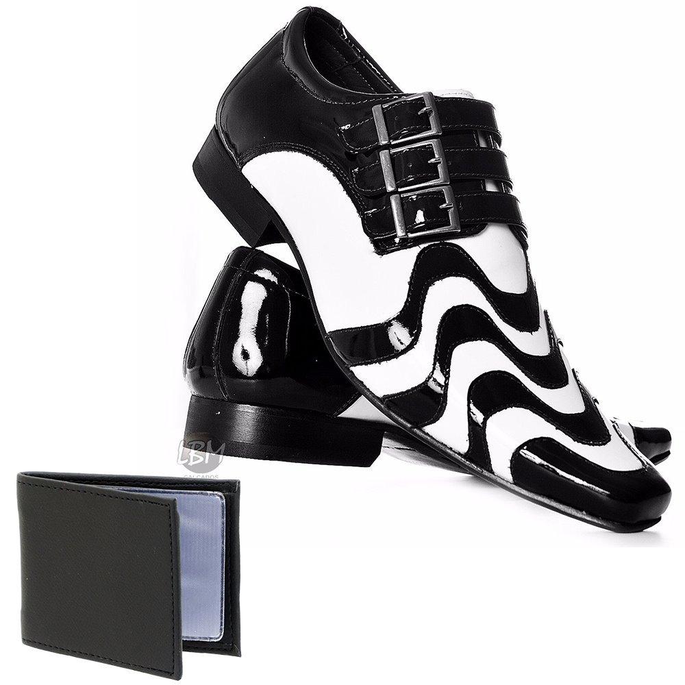 2cbb063d5 sapato social copacabana preto e branco em couro + brinde. Carregando zoom.