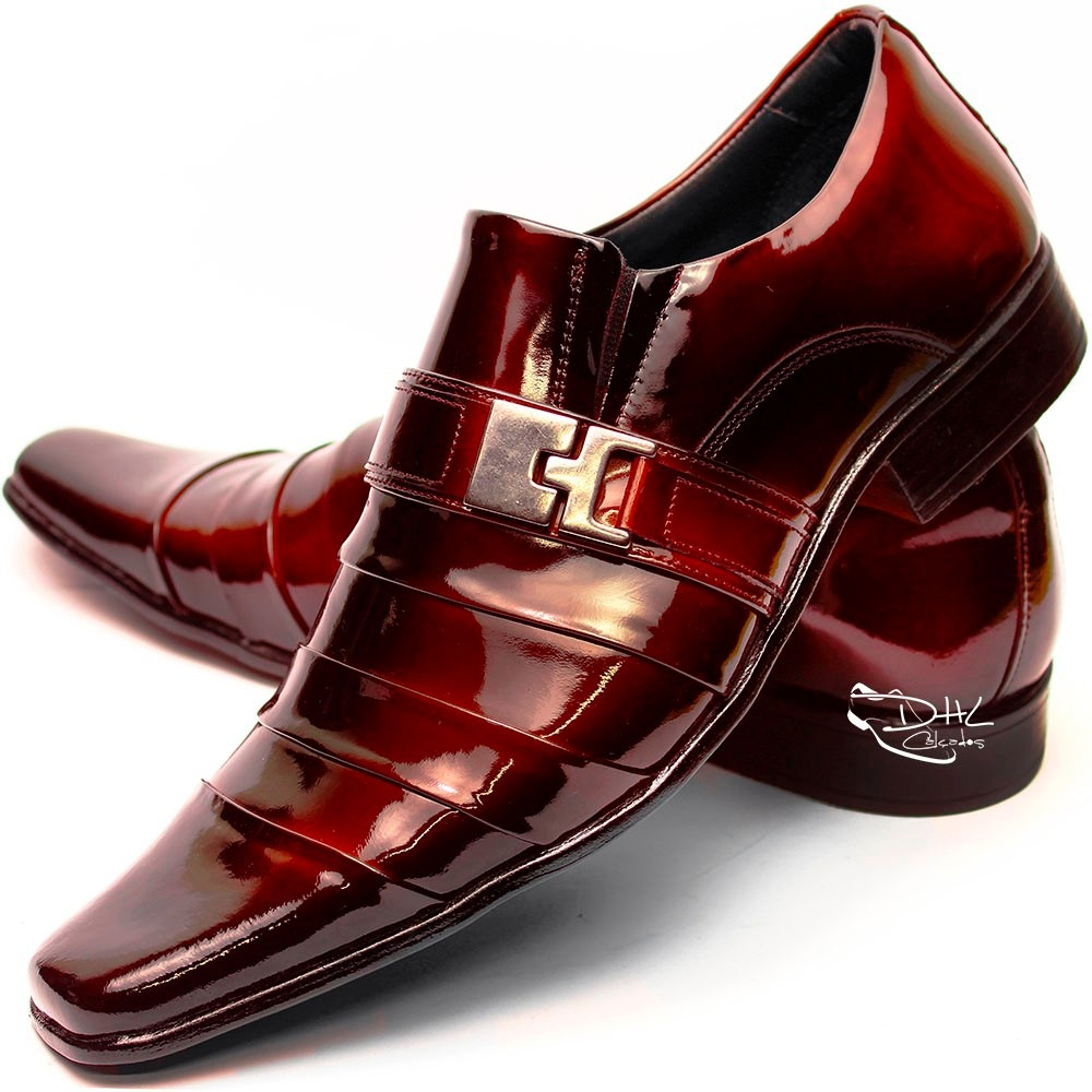 ac0396f41 Sapato Social Couro Envernizado Masculin Franca Dhl Calçados - R ...