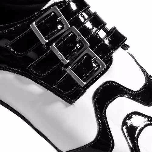 4c6ea9a55 Sapato Social Couro Natural Verniz Calçados Preto E Branco ! - R ...