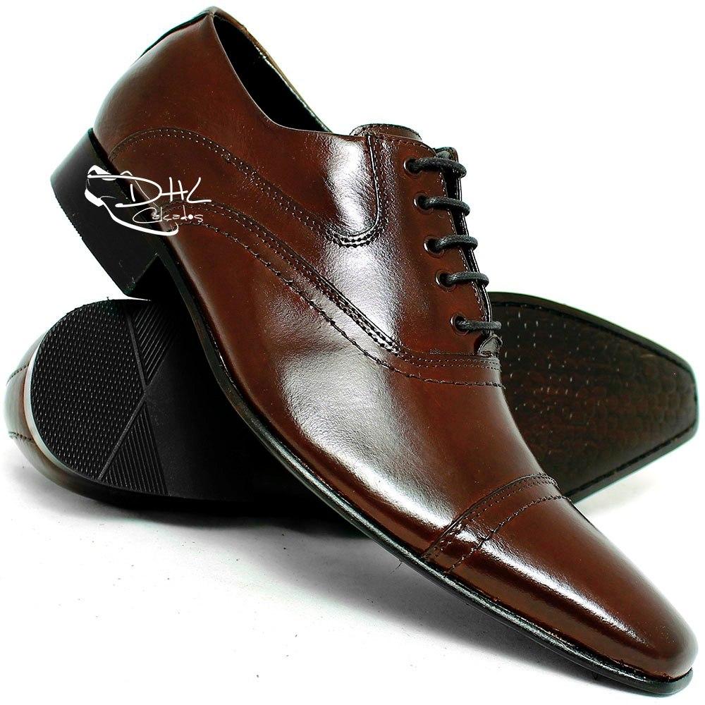 44898c7434 sapato social couro stilo italiano cadarço preto frete grati. Carregando  zoom.