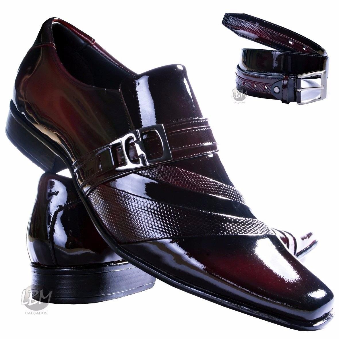 1439ac110 sapato social de verniz masculino + cinto verniz vinho- lbm. Carregando zoom .