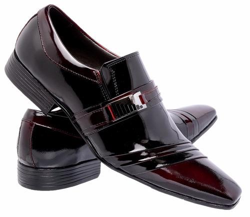 sapato social de verniz masculino couro legitimo