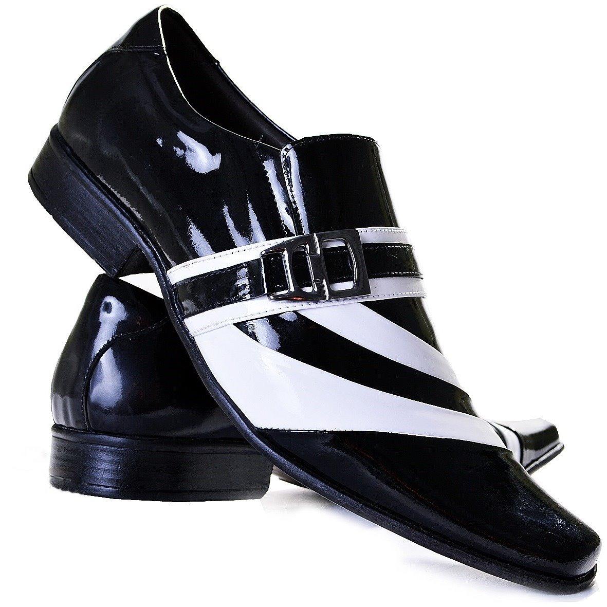 9ab651fb0 sapato social de verniz preto com branco - gofer ref. 0632. Carregando zoom.