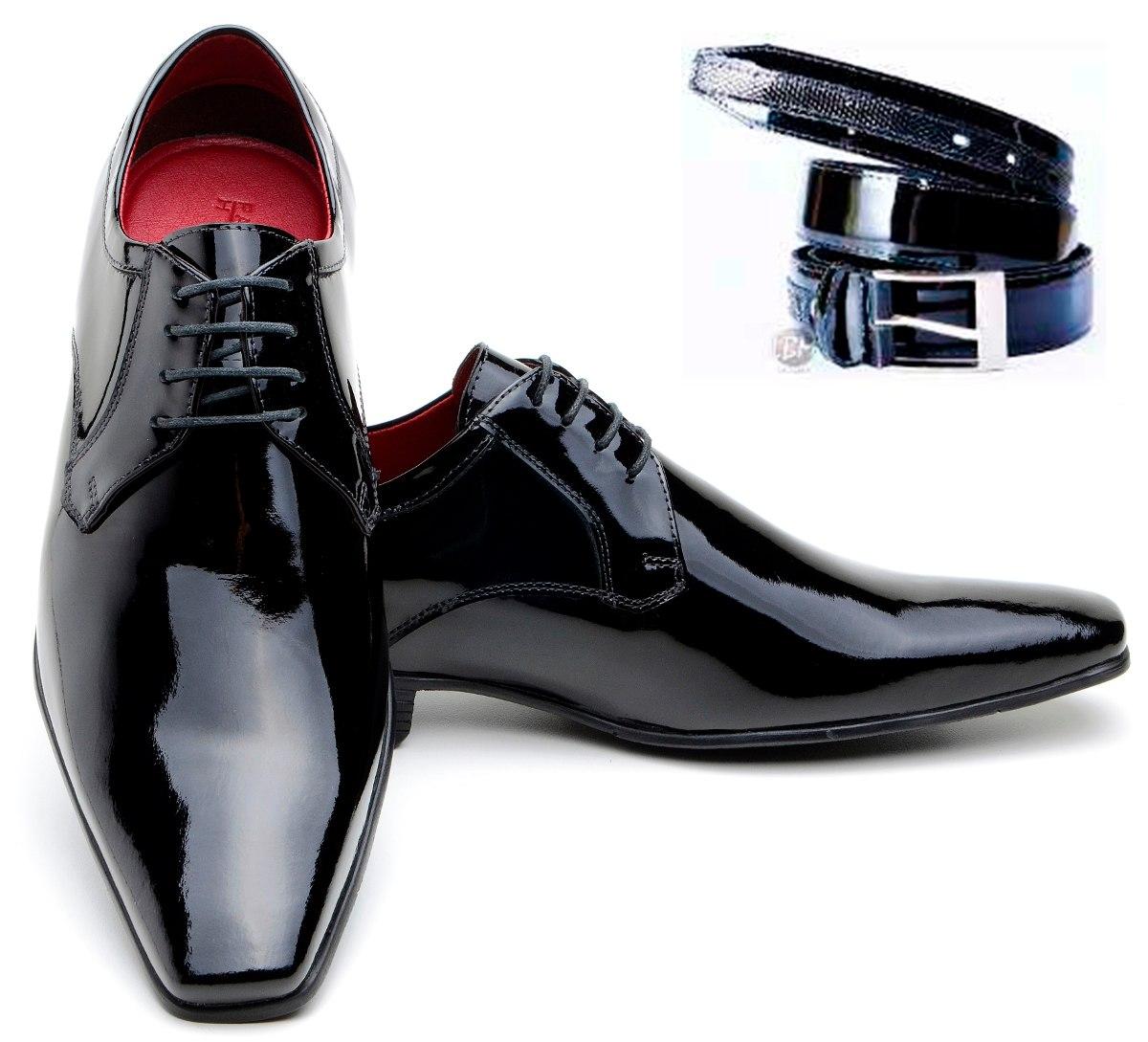 1004e87af0 sapato social de verniz preto liso em couro legítimo e cinto. Carregando  zoom.
