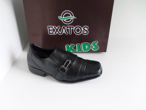 sapato social infantil couro sintético - exatos - preto