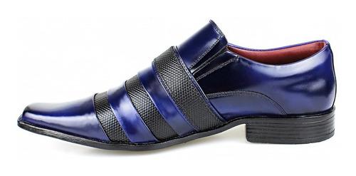 sapato social masculino azul e preto verniz  couro legítimo
