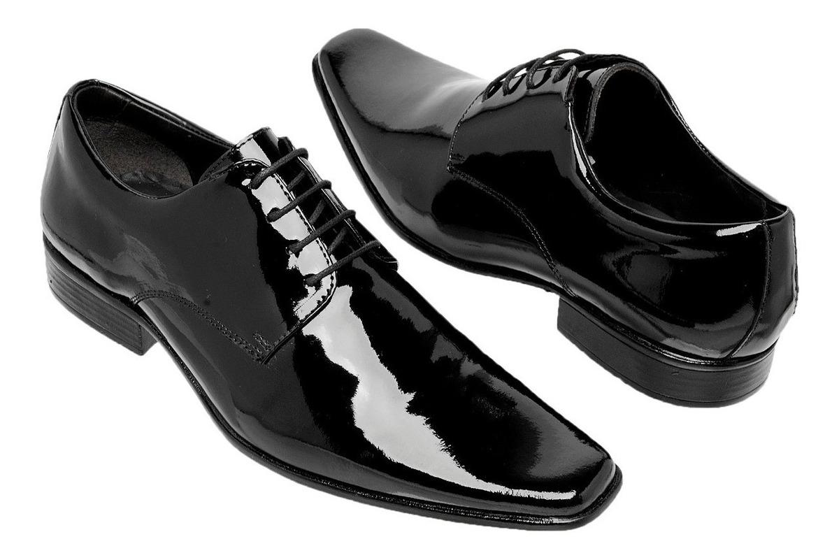80c3ec99c Sapato Social Masculino Clássico Verniz Amarrar Gofer - R$ 119,90 em  Mercado Livre