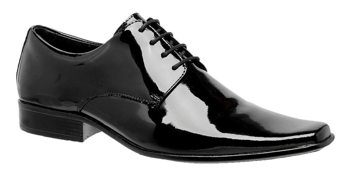 90ad270cdf Sapato Social Masculino Clássico Verniz Amarrar Gofer - R$ 119,90 em ...