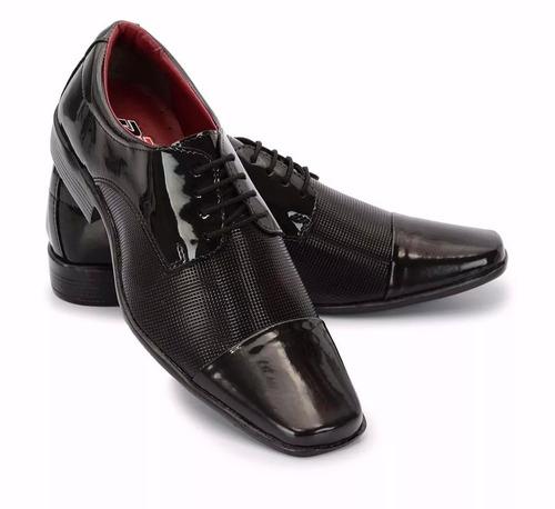 75532e49a Sapato Social Masculino Couro Detalhe Verniz Promocao Barato - R$ 39 ...