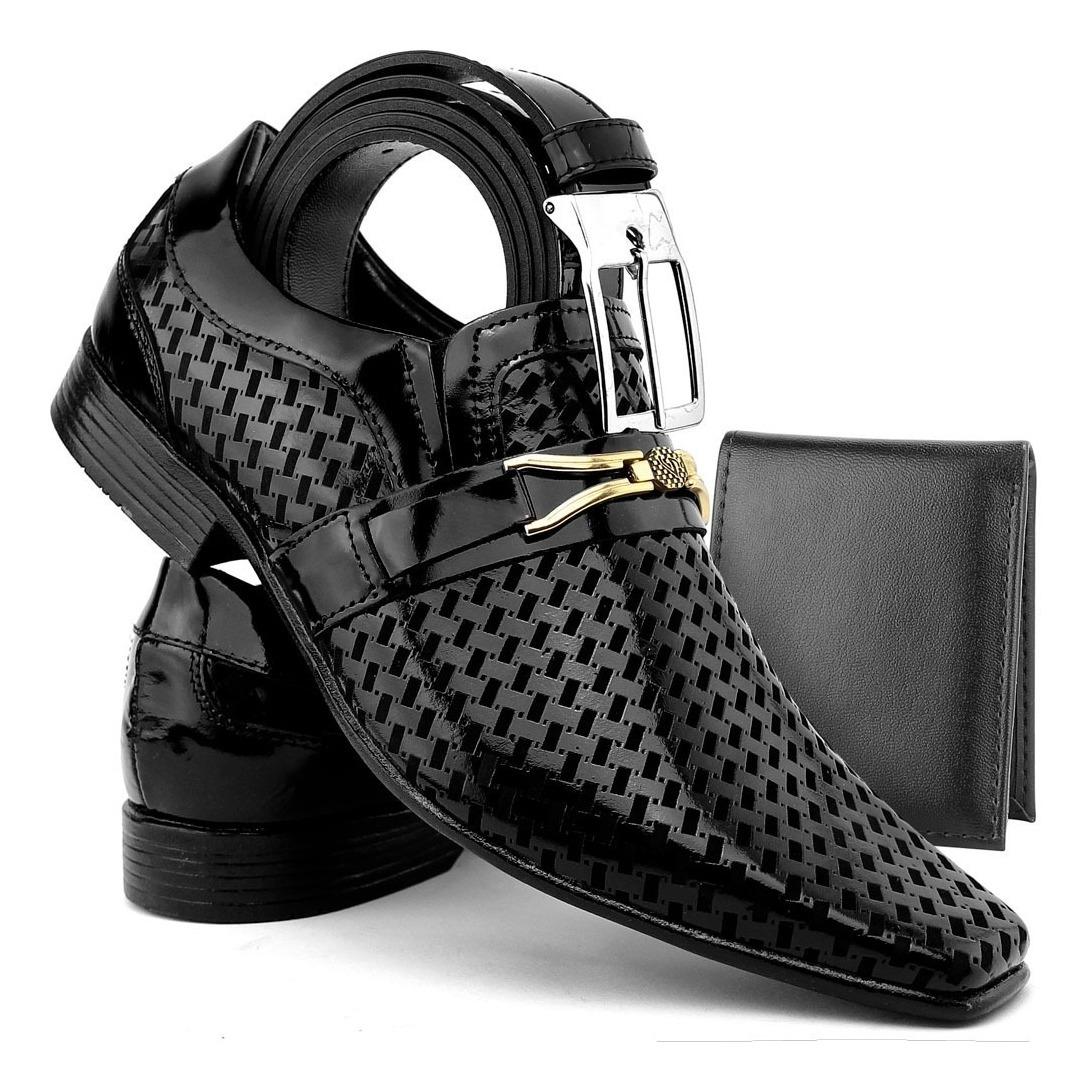 7cba0b738 sapato social masculino couro envernizado kit cinto+carteira. Carregando  zoom.