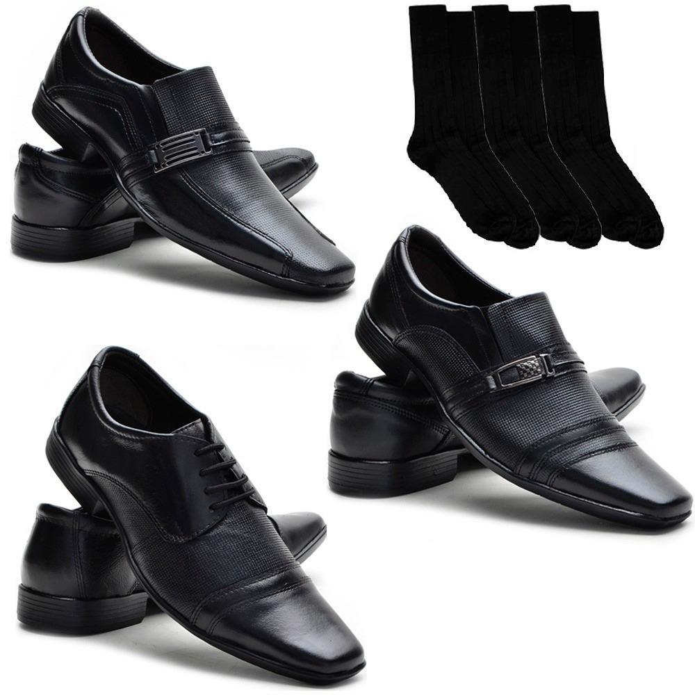 ed1da45e45 sapato social masculino couro legítimo kit 3 pares + 3 meias. Carregando  zoom.