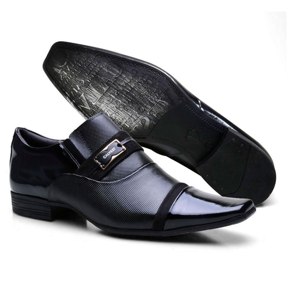 b72aefeb87 sapato social masculino couro metal calvest preto 1100c659. Carregando zoom.