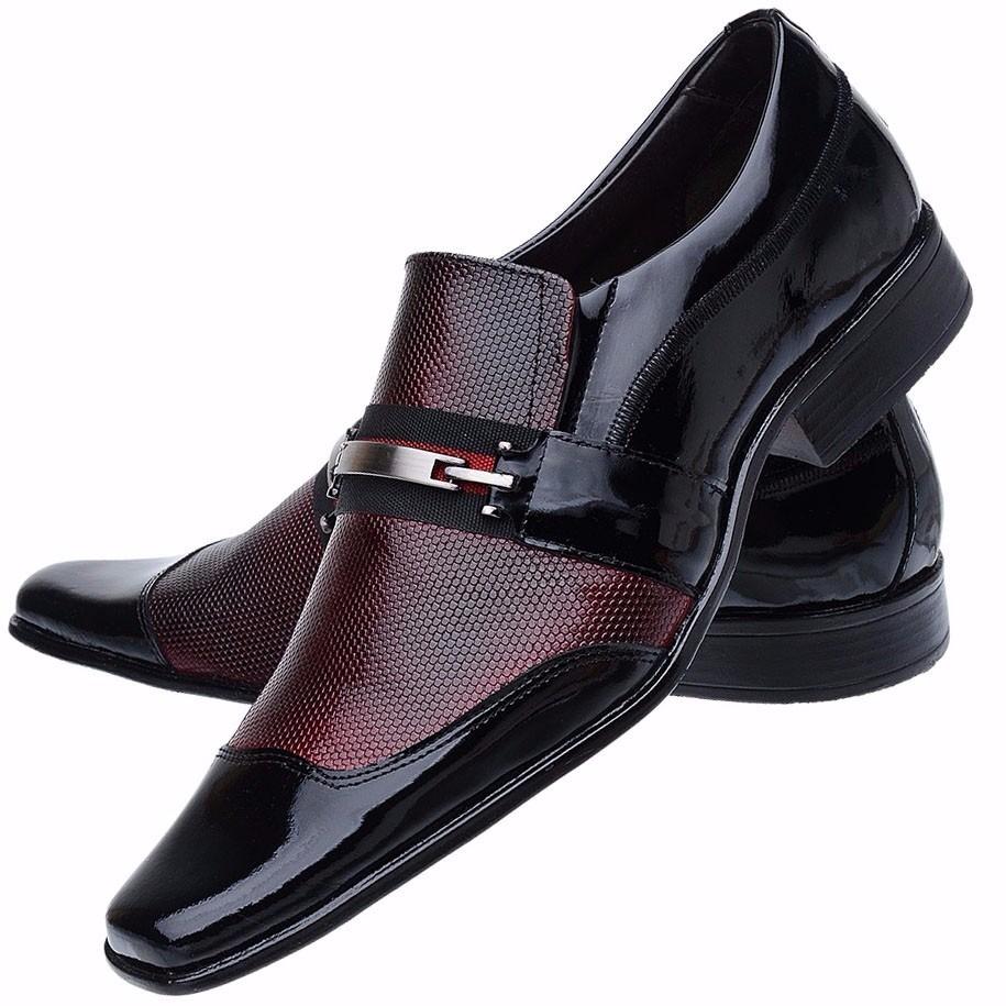 d33e054bd3 sapato social masculino couro verniz vinho luxo sofisticado. Carregando zoom .