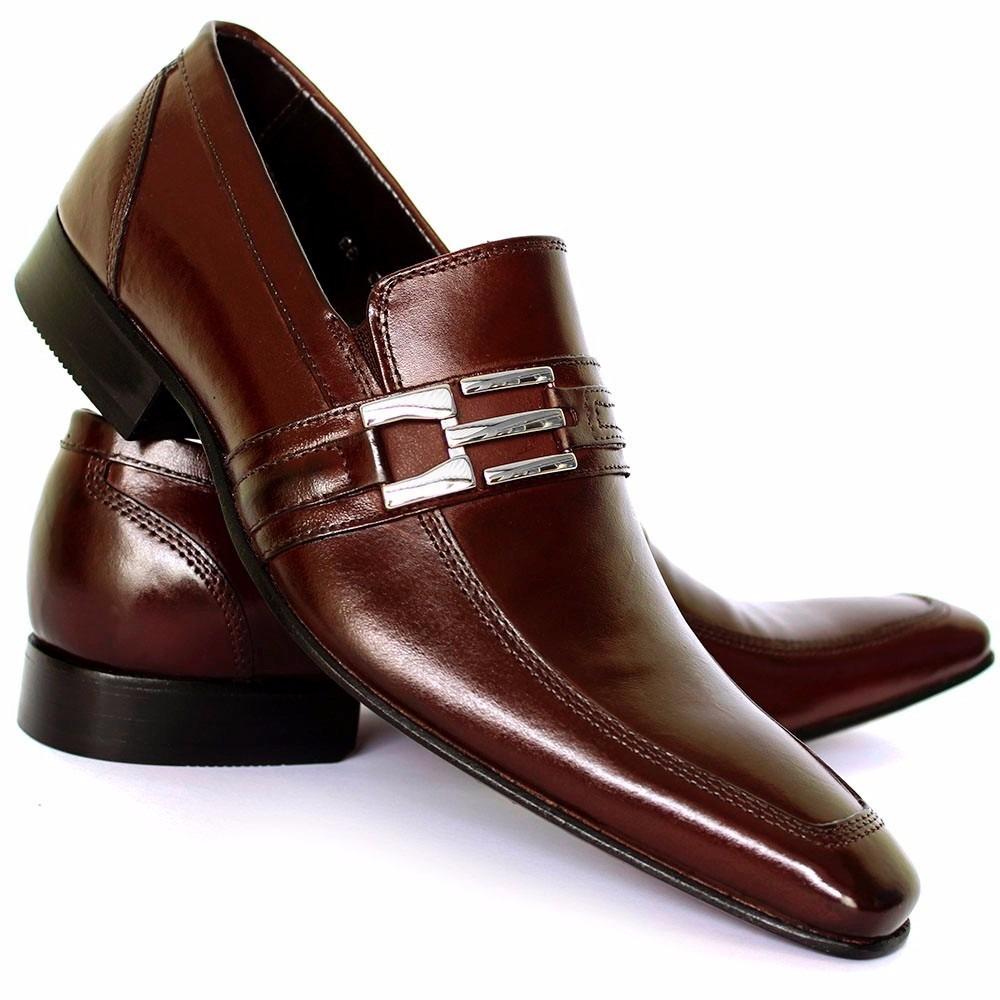 d9da8bf9a2 sapato social masculino em couro legítimo bico fino marrom. Carregando zoom.