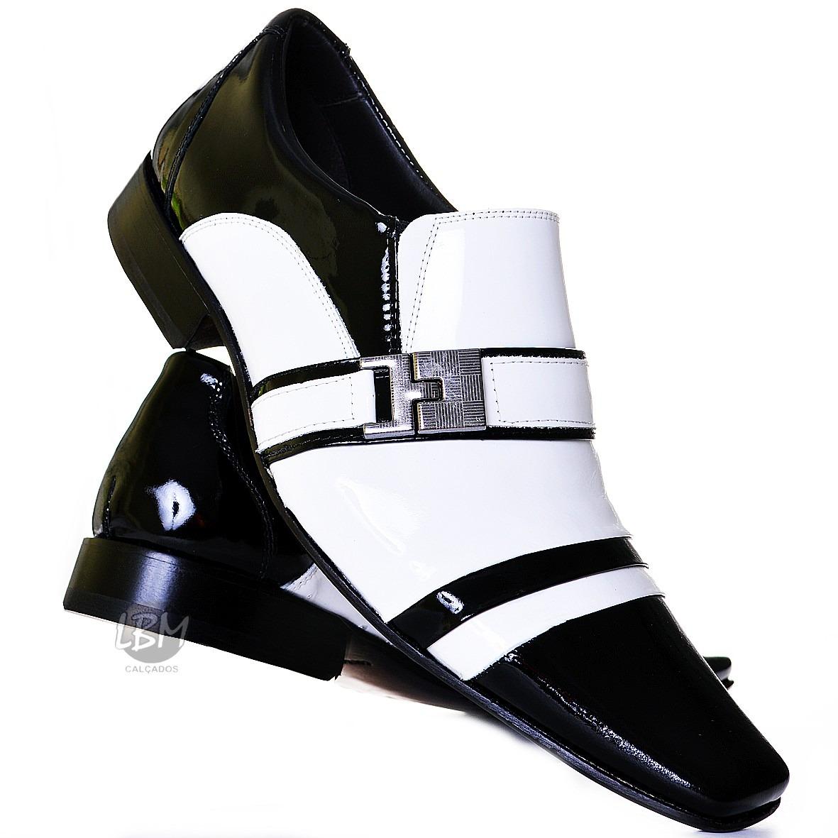 80d0c3fa21 sapato social masculino em couro verniz preto e branco luxo. Carregando  zoom.