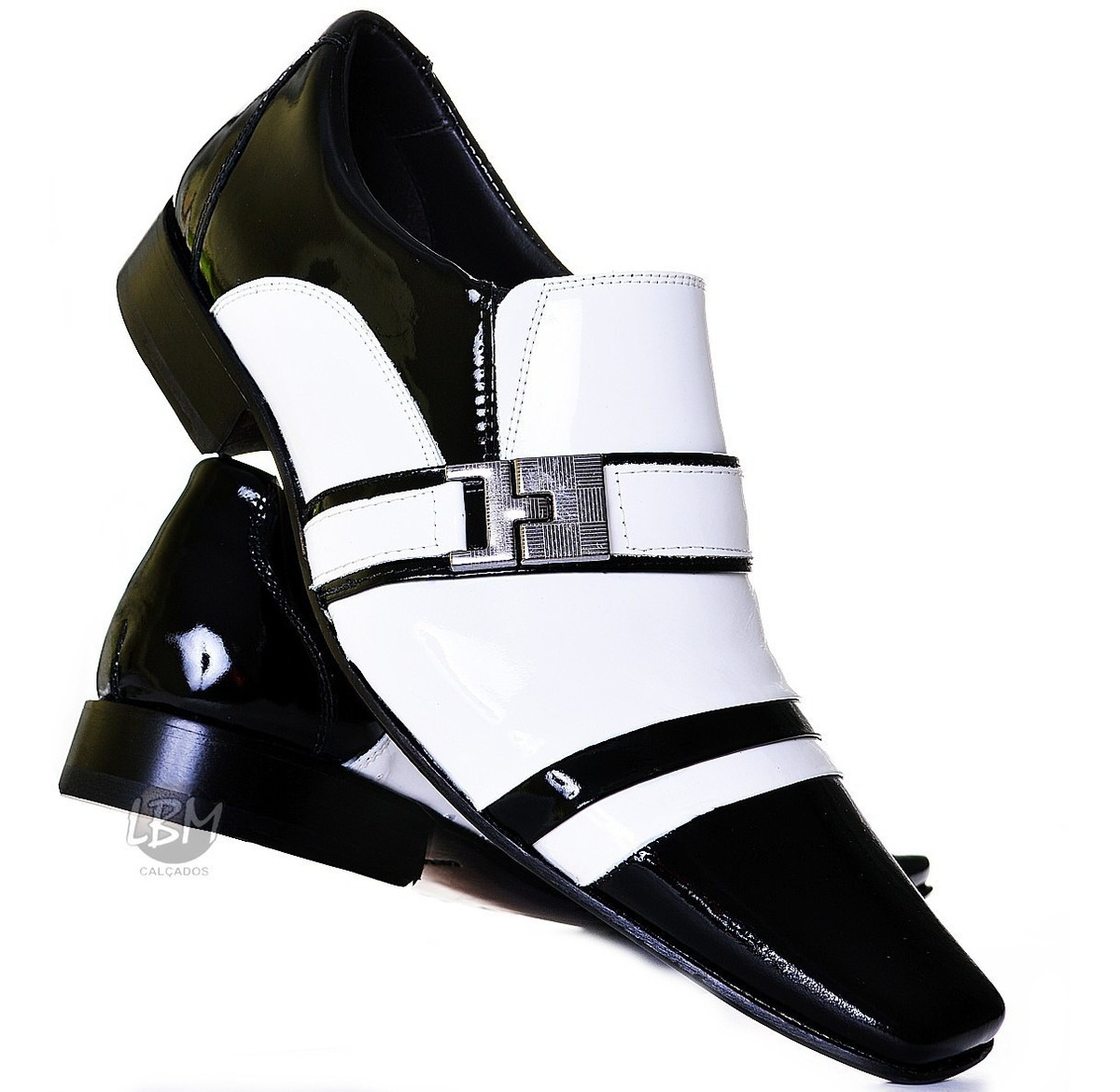 b7b662bcd6 sapato social masculino em couro verniz preto e branco luxo. Carregando  zoom.
