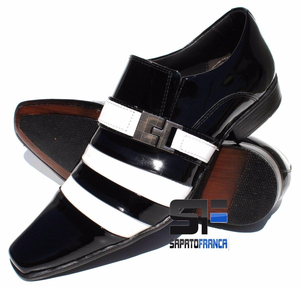 ef3ba0302c sapato social masculino envernizado preto com branco couro. Carregando zoom.