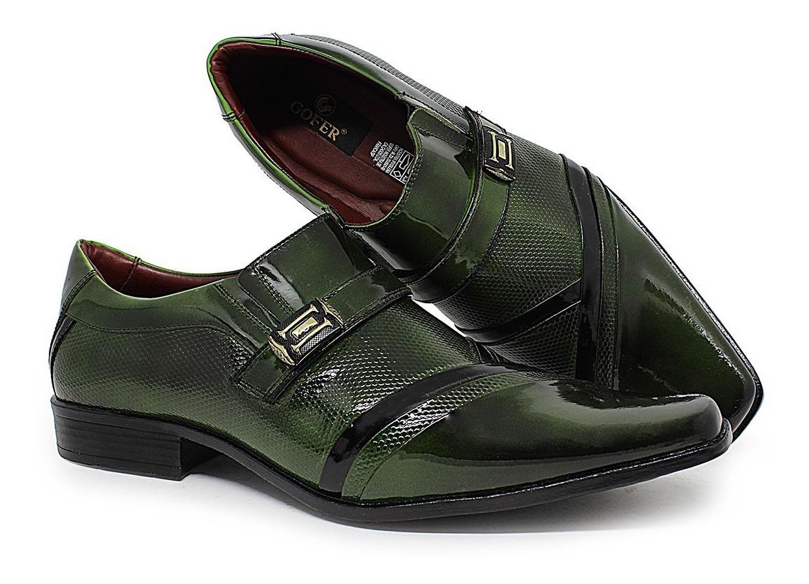 a0e520f32 sapato social masculino estilo couro legítimo verniz verde. Carregando zoom.