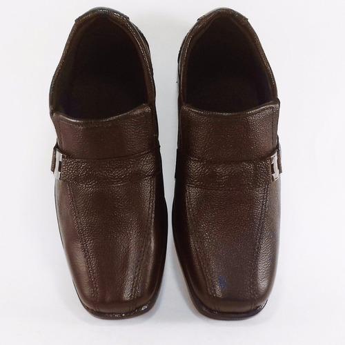 sapato social masculino infantil marrom couro promoção