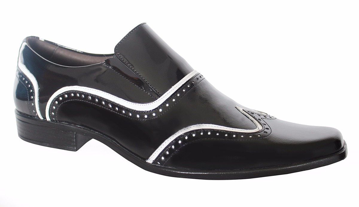 d3e125224 sapato social masculino inglês verniz preto branco gofer. Carregando zoom.