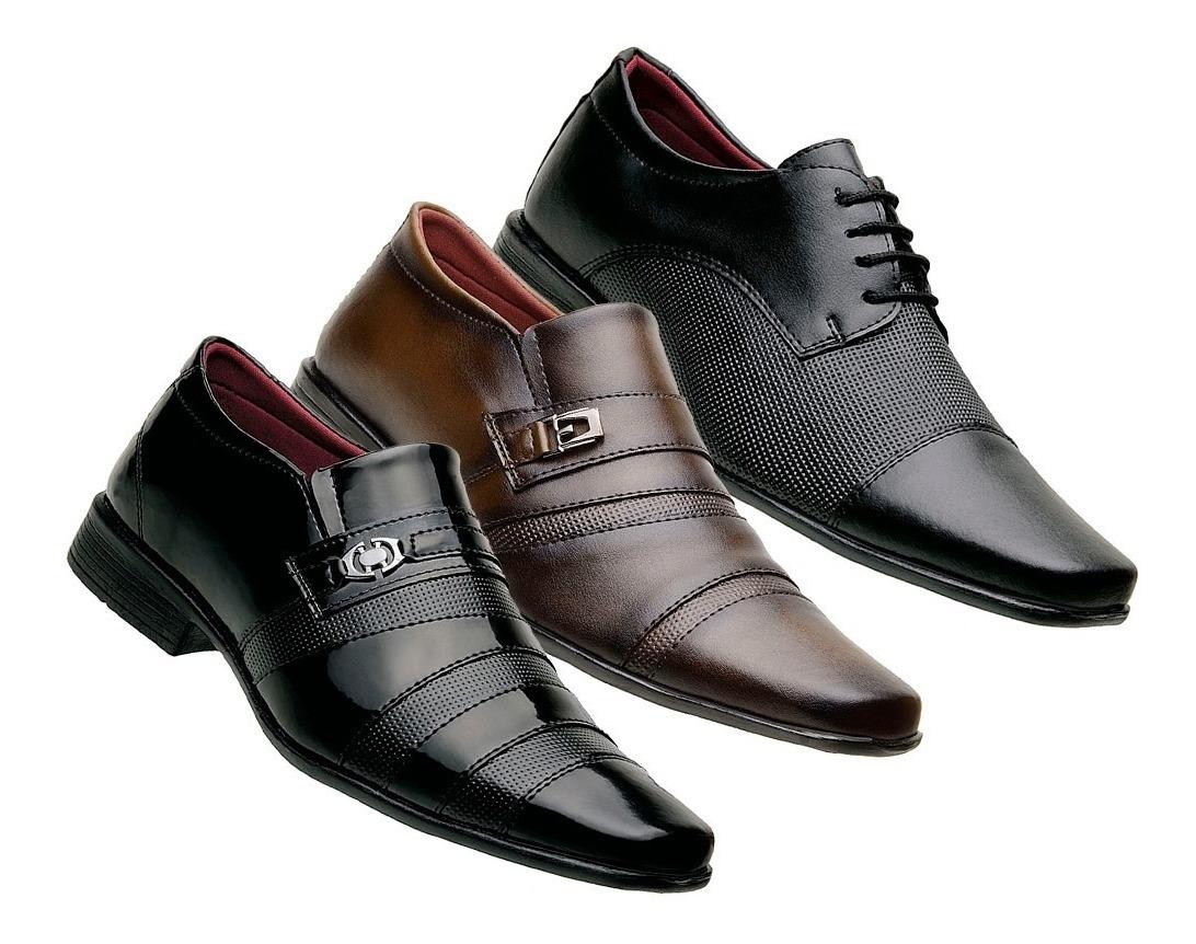 41cc2c8870 sapato social masculino kit 3 pares preto marrom revenda. Carregando zoom.