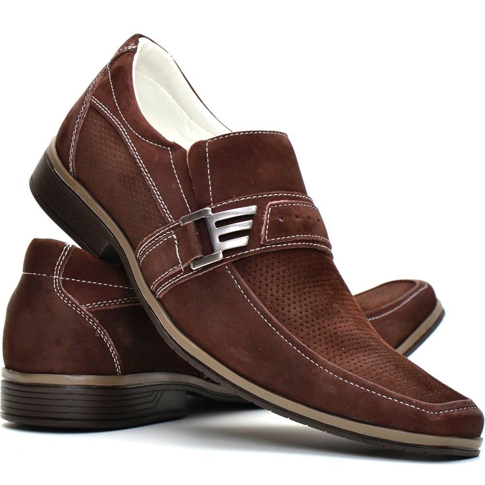 d21f8c2585 sapato social masculino marrom casual bico alongado de couro. Carregando  zoom.