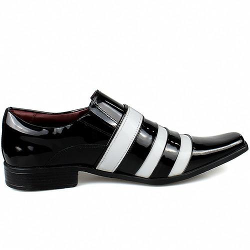 sapato social masculino preto branco verniz  brilhante