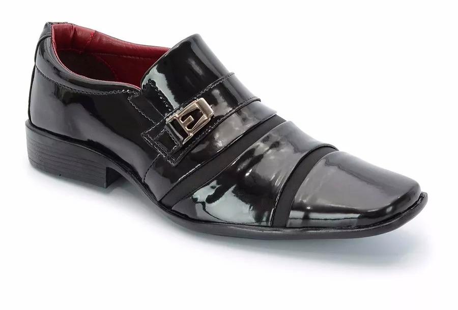 6208b2b25e sapato social masculino preto couro sintetico 803 brilho. Carregando zoom.