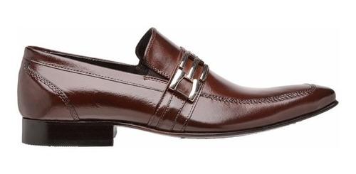 sapato social masculino solado de couro bico longo pelica